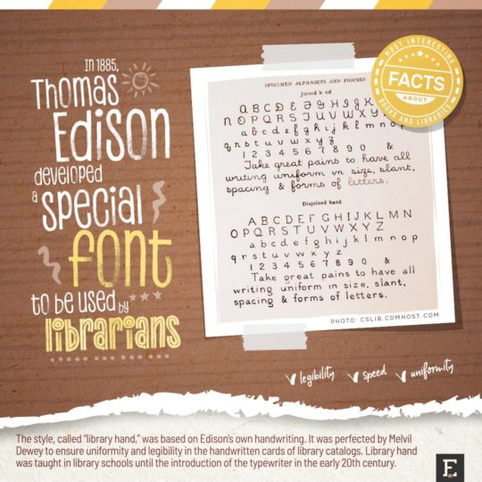 Thomas Edison library hand font - top facts about libraries