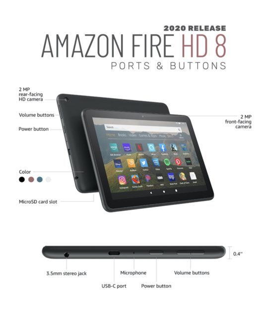 Amazon Fire HD 8 2020 - ports and buttons