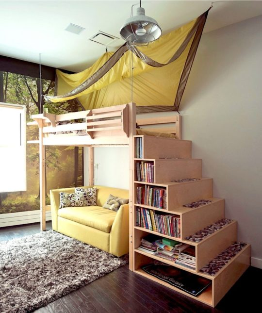 Creative library in boys room - home library ideas