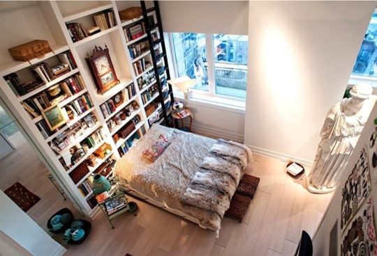 Eclectic bedroom and library - best home library designs