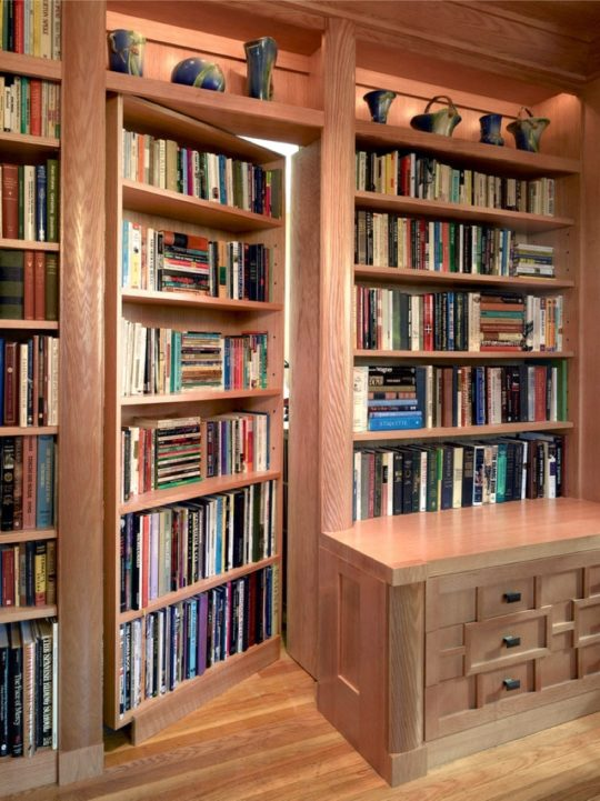 Hidden bookcase doror in a home office - best home library ideas