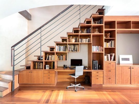 Home library and office under the stairs