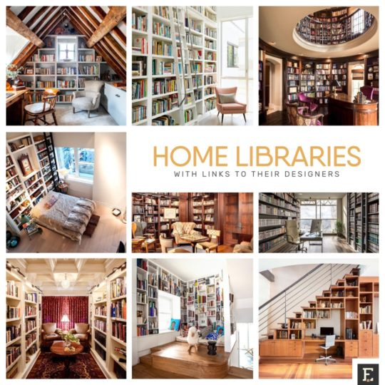 Home library ideas, designs, and examples with links to their designers