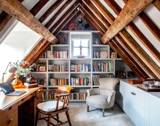 Home library in a vintage attic - best home library designs