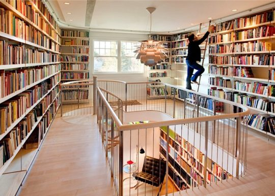 Large hallway library in a contemporary style