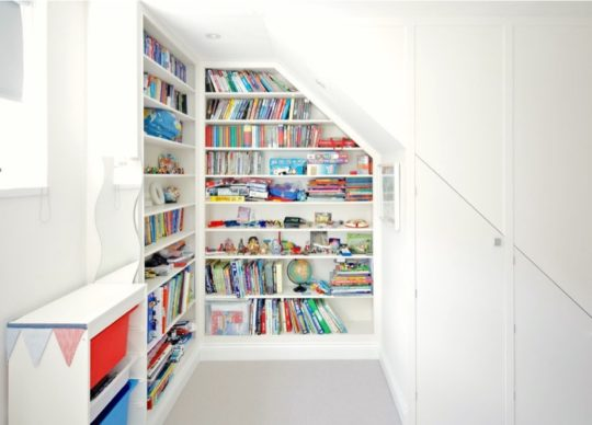 Scandinavian style library corner in childrens room
