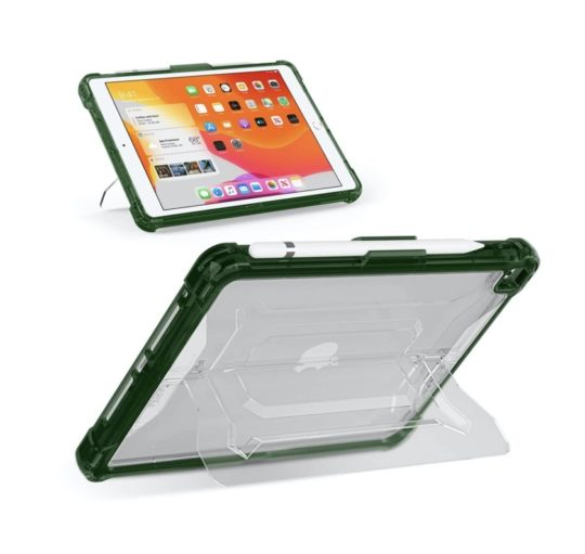 Shockproof rugged iPad 10.2 case with transparent kickstand