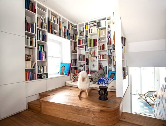 Stairway library and reading nook - best home library ideas