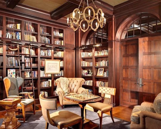 Traditional walnut paneled library - best home library ideas