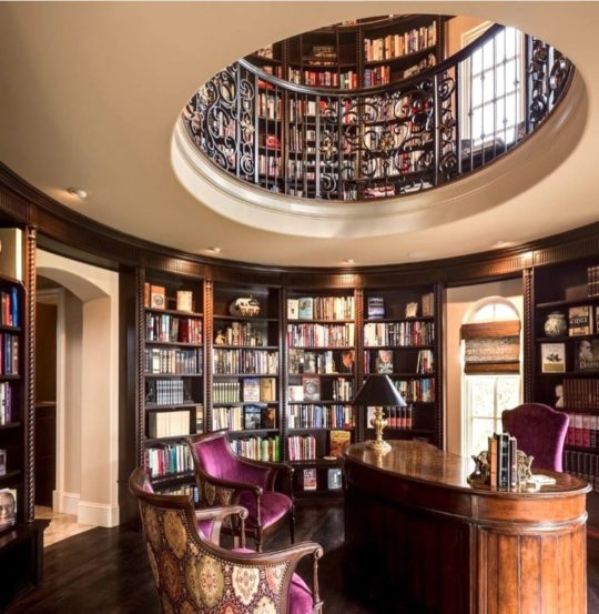 Two-story circular library - best home library ideas