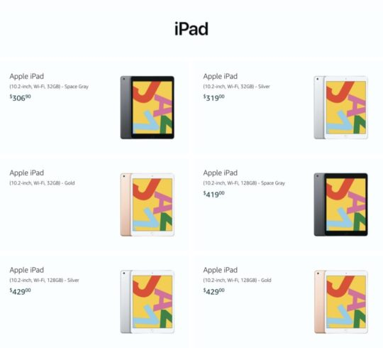 iPad model list on Amazon