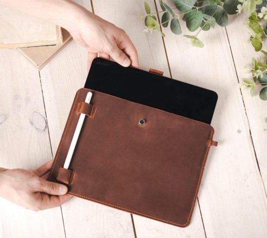 Affordable genuine leather iPad Pro 11 sleeve with personalization