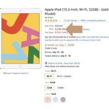 Apple iPad 10.2 for $250 on Amazon