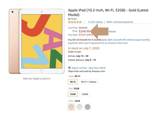 Apple iPad 10.2 for $250 on Amazon