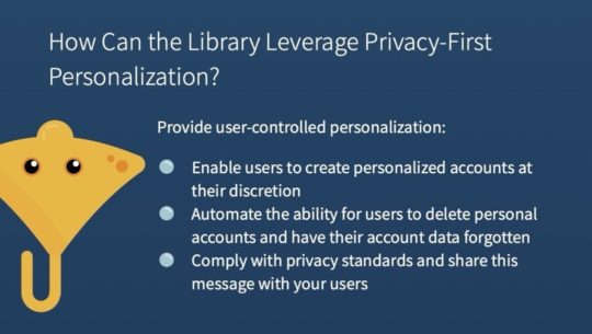 How can libraries implement privacy-first personalization