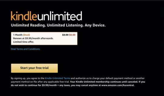 Renew Kindle Unlimited subscription one month free
