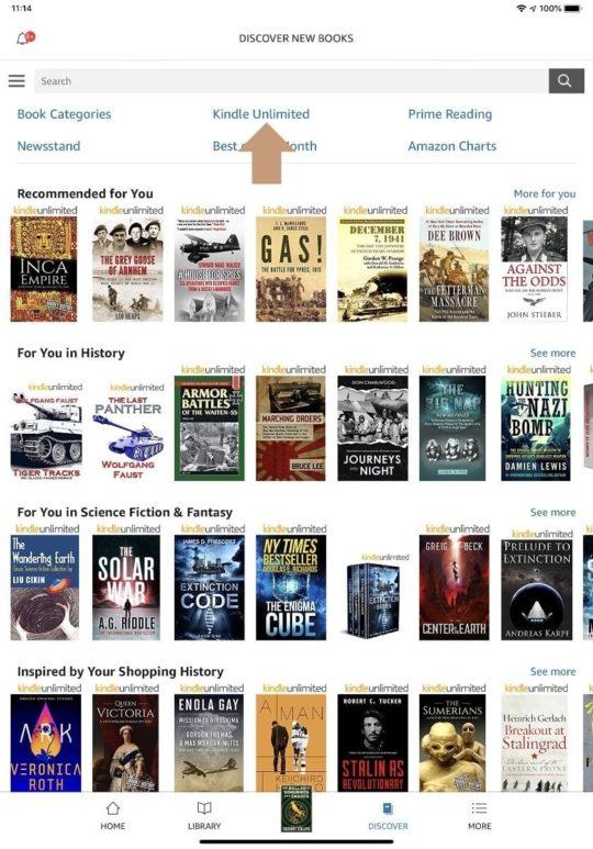 Kindle app iPad full books via Kindle Unlimited