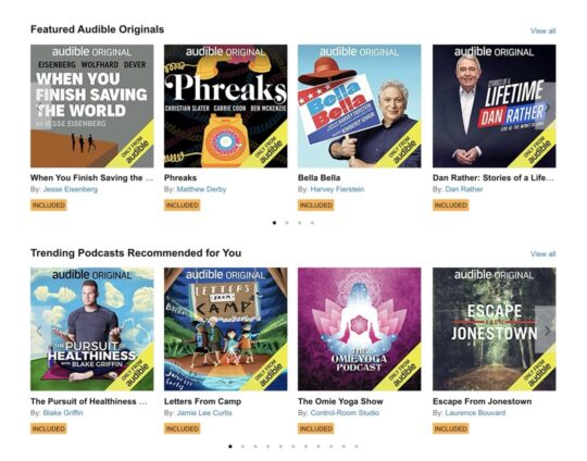 Audiobooks included in Audible Plus membership