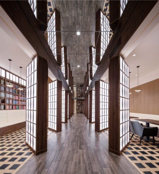 Beijing bookstore classic Chinese garden hallway