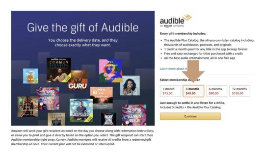 Gift Audible Premium Plus pre-paid membership