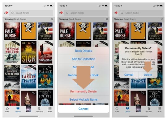 How to permanently delete Kindle books in iPad app