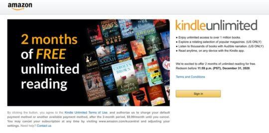 60-day free trial Kindle Unlimited special offer