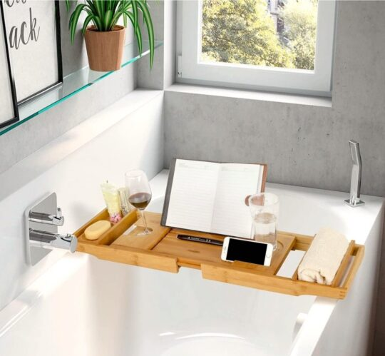 Bamboo bathtub holder with reading stand