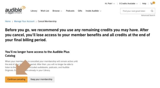 Cancel Audible Plus membership step 2 - alert message