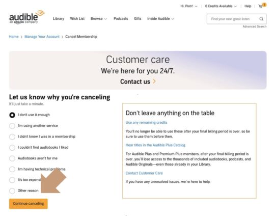 Cancel Audible Plus membership step 3 - customer care