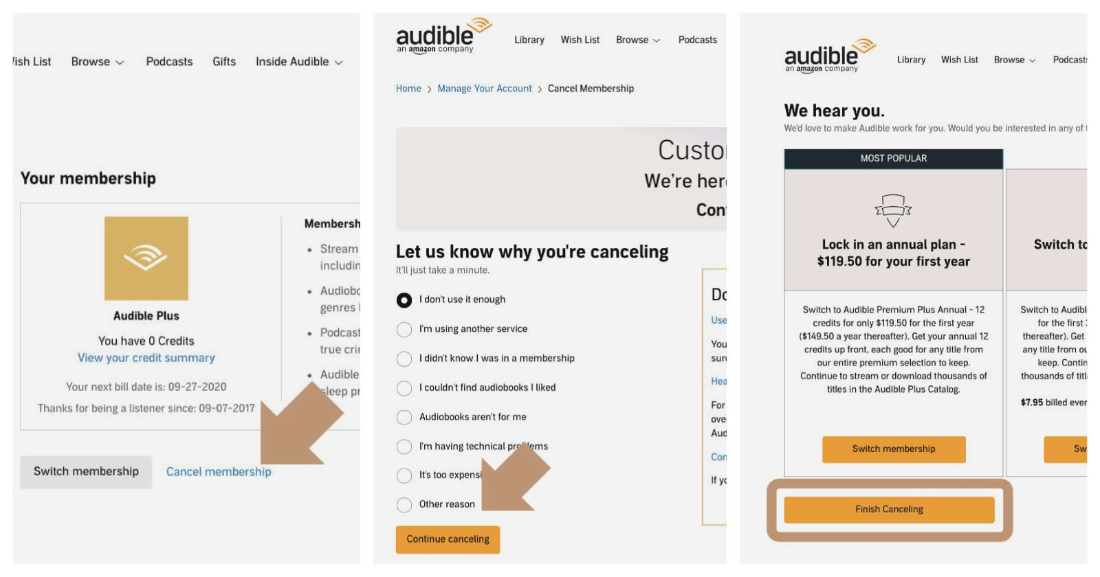Cancel Audible Plus step by step