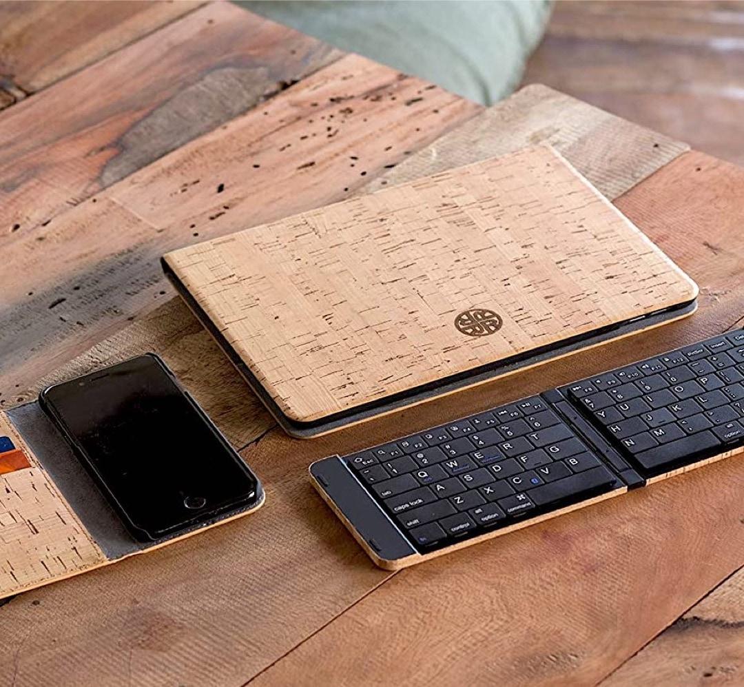 Cork wood Apple iPad 10.2 2021 and 2020 folio case