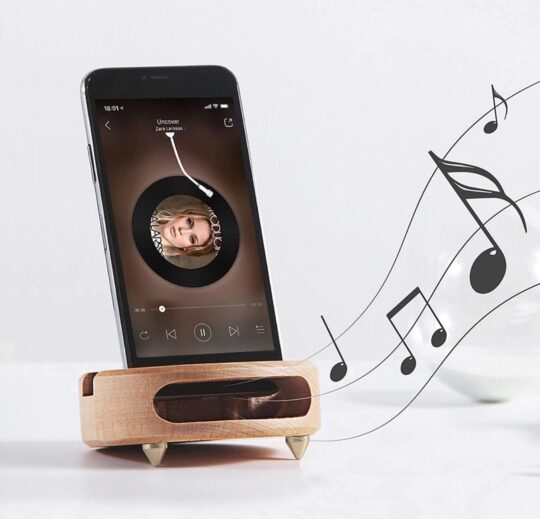 Wooden phone stand and sound amplifier - best gifts for audiobook fans