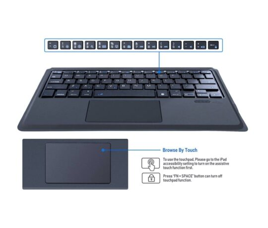 iPad trackpad keyboard case tech specs