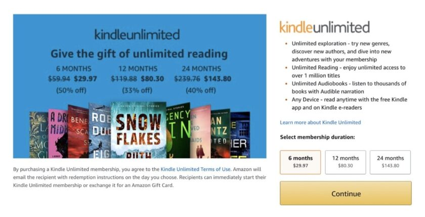 Kindle Unlimited gift plans deals