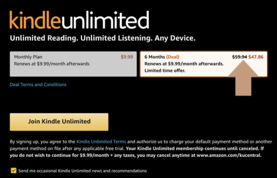 Personalized Kindle Unlimited deal on sign up page