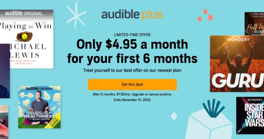 Audible Plus audiobook deal 6-month plan