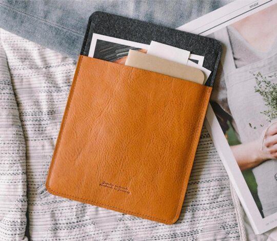 Handcrafted genuine leather Amazon Kindle sleeve