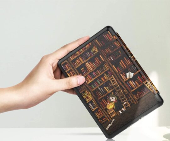 Library-themed Amazon Kindle slim cover