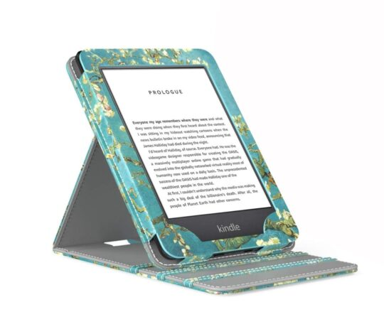 Vertical flip standing Amazon Kindle floral cover