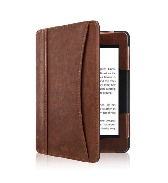 Vintage faux leather Kindle cover with external pocket