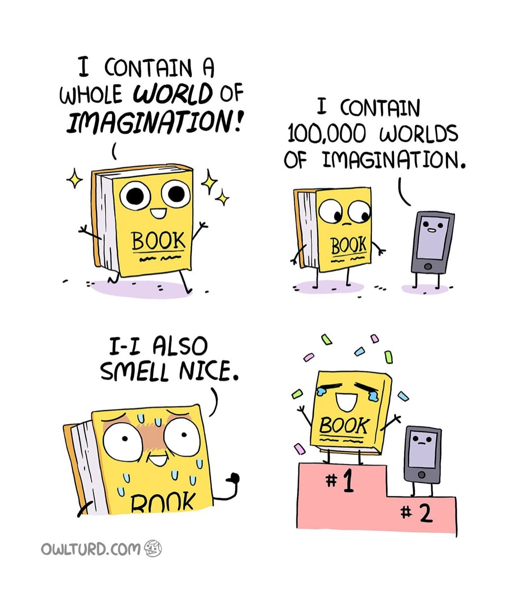 Books Versus Phones - a cartoon by Shen Comix