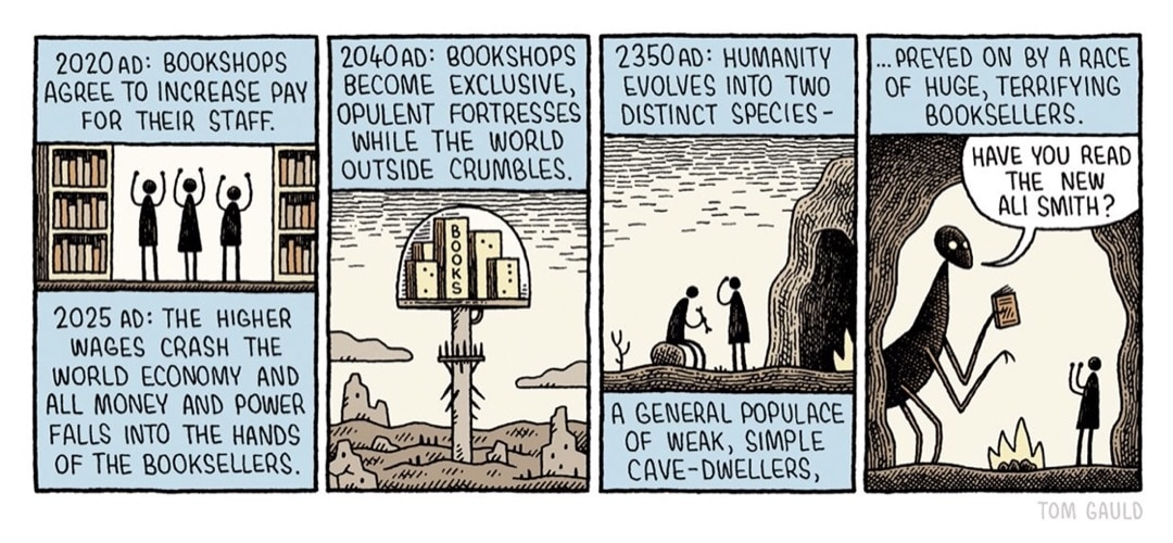 Bookshops in the Future by Tom Gauld - best cartoons for book lovers