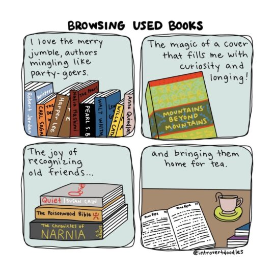 Browsing Old Books cartoon by Introvert Doodles - best cartoons about books