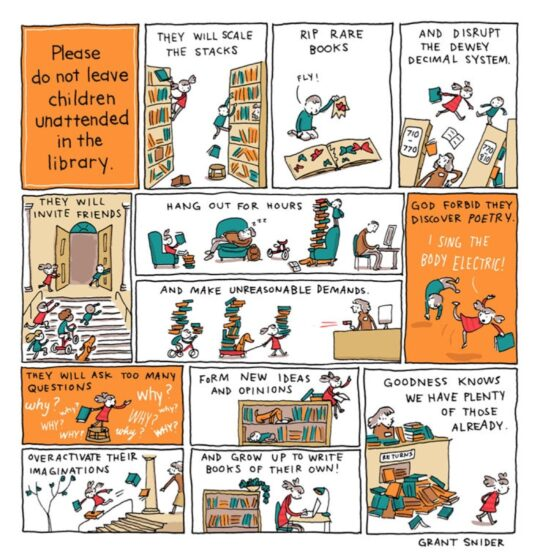 Children in the library - Grant Snider - best cartoons about libraries