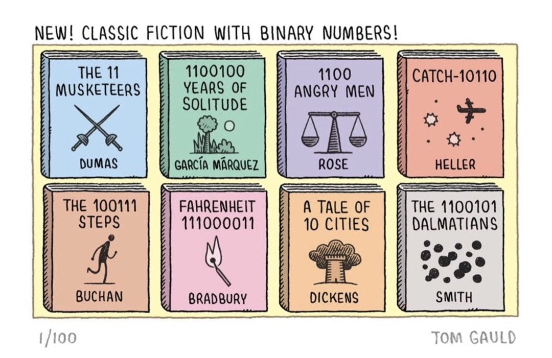 Classic Fiction with Binary Numbers - best cartoons about books