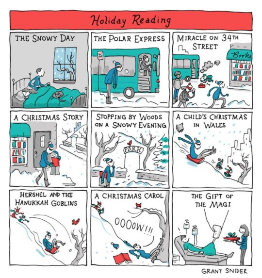 Holiday Reading by Grant Snider - best cartoons about books