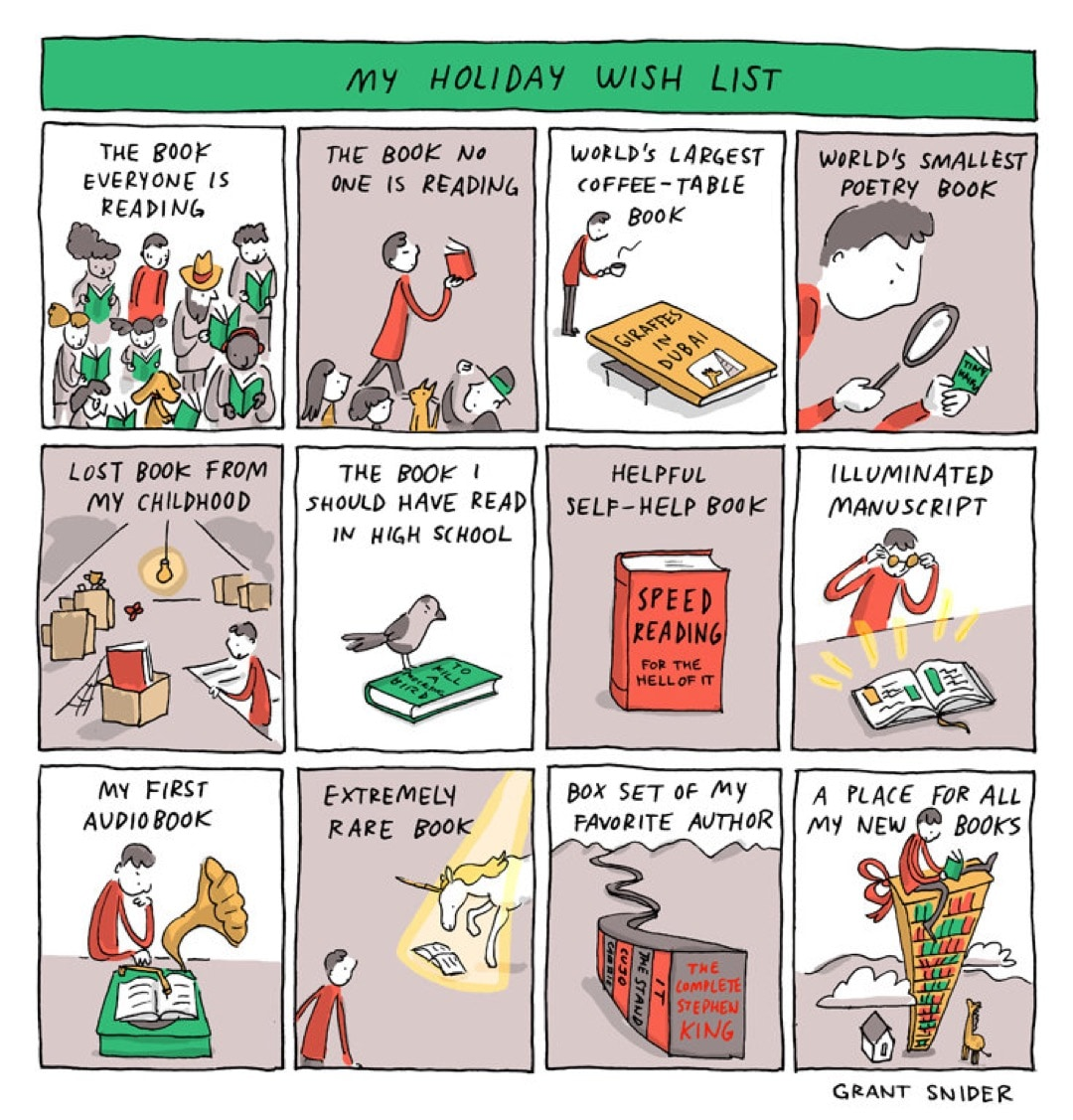 My Holiday Wish List by Grant Snider - best cartoons about books