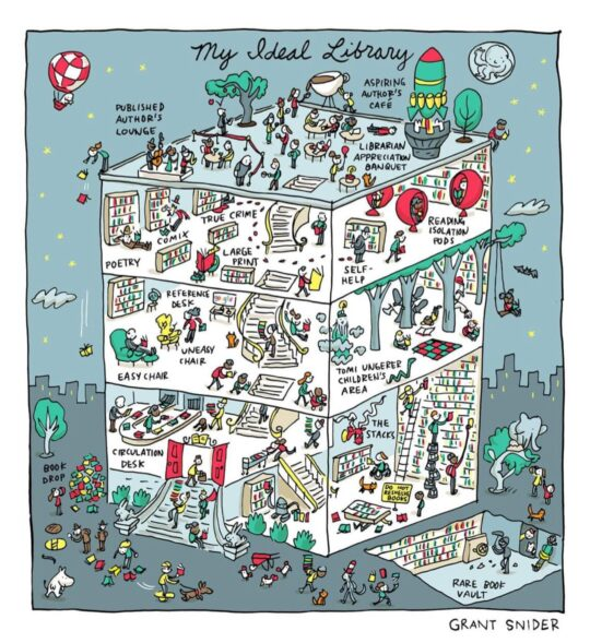 My Ideal Library by Grant Snider - best cartoons about libraries