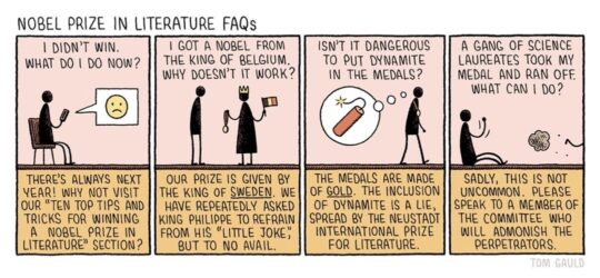 Nobel Prize in Literature - best cartoons about books - Tom Gauld