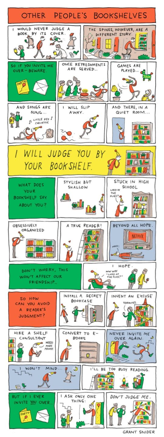 Other People's Bookshelves cartoon by Grant Snider